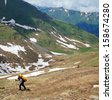 Ascent to the pass, Northern Caucasus - stock photo