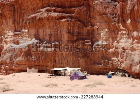 Ascetic Bedouin camp in Wadi Rum desert, Jordan - stock photo