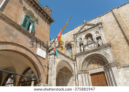 ASCOLI PICENO, ITALY- AUGUST 25: architectural details of the city's medieval old town on august 25, 2015 in Ascoli - IT