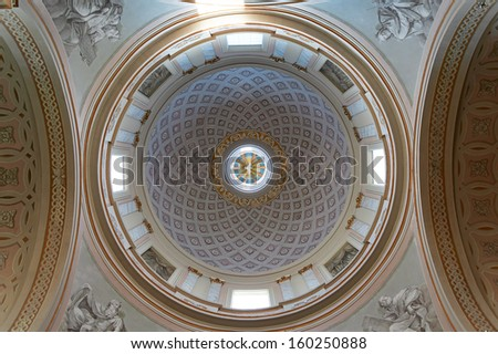 ASCOLI PICENO, ITALY - AUGUST 15, 2013: Lateral dome of the S. Emidio's cathedral in  Ascoli Piceno, Italy on August 15, 2013. In the crypt of the cathedral houses the relics of the patron, S. Emidio
