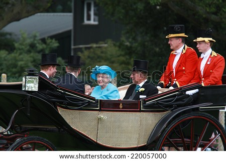 ASCOT - JUN 19: Queen Elizabeth II and Prince Philip, Duke of Edinburgh attend Ladies Day at Royal Ascot at Ascot racecourse on Jun 19, 2014 in Ascot - stock photo