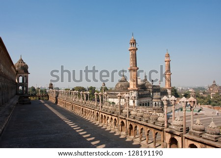 Asfi mosque view from roof of the Bara Imambara, Lucknow, India. Mughal architecture. - stock photo