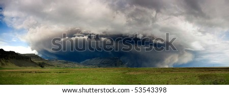 ash cloud after volcano erupts in iceland - stock photo