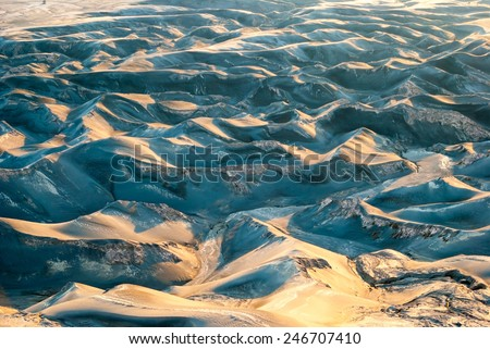 Ash dunes background at mount Bromo plateau, Indonesia - stock photo