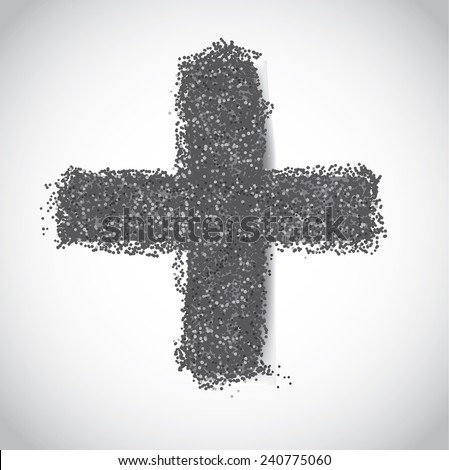 Ash Wednesday cross of ashes  stock illustration - stock photo