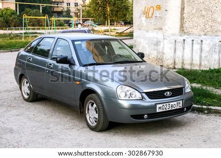 ASHA, RUSSIA - AUGUST 19, 2008: Motor car LADA Priora at the city street, - stock photo