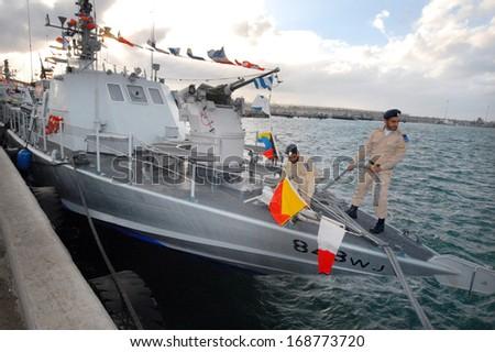 ASHDOD, ISR - JAN0 3:Israel Navy Super Dvora Mk III-class patrol boat on Jan 03.It's the latest generation of Dvora fast patrol boats or fast attack crafts apable of speeding up to 50 knots (93 km/h) - stock photo