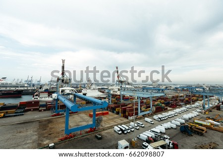 ASHDOD, ISRAEL - OCTOBER 12: Wide angle scape view of the port of Ashdod, Israel on October 12, 2012.
