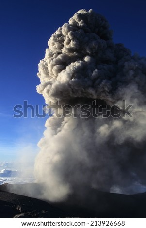 Ashes blown by the Semeru volcano