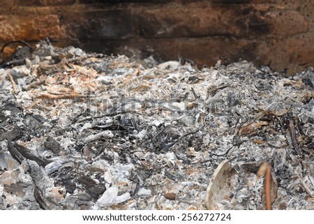 Ashes of wood and leaves - stock photo