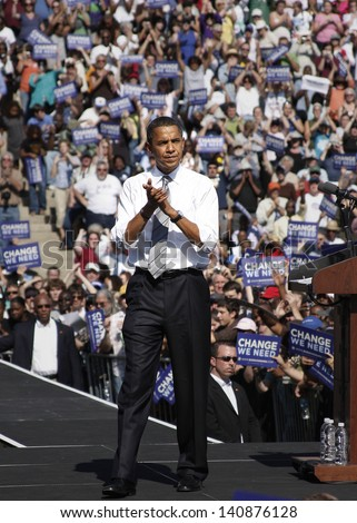 ASHEVILLE, NC - OCT. 5: Presidential candidate Barack Obama speaking at a campaign rally at Asheville High School on October 5, 2008.