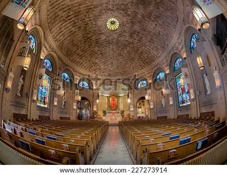 ASHEVILLE, NORTH CAROLINA - OCTOBER 17: Interior of the Basilica of Saint Lawrence on October 17, 2014 in Asheville, North Carolina
