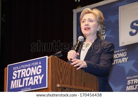 Asheville, North Carolina, United States- March 8, 2008: Hillary Clinton speaking at a Democratic Rally at the Asheville Civic Center in Asheville, North Carolina. - stock photo