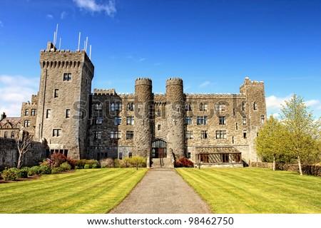 Ashford castle and gardens - Ireland. - stock photo