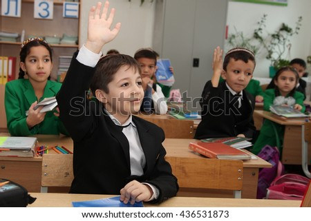 Ashgabad, Turkmenistan - November 4, 2014. Group of students in lesson in the classroom . November 4, 2014.  In schools of Turkmenistan annually trains about 900 thousand children.