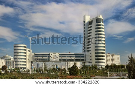 Ashgabat, Turkmenistan - October 20, 2015.  Part of the complex - Olympic Village (Ashgabat, 2017). Ashgabat first in the Central Asian region has received the right to host the Asian Indoor Games