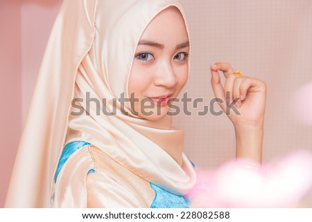 ashion portrait of young beautiful muslim woman - stock photo