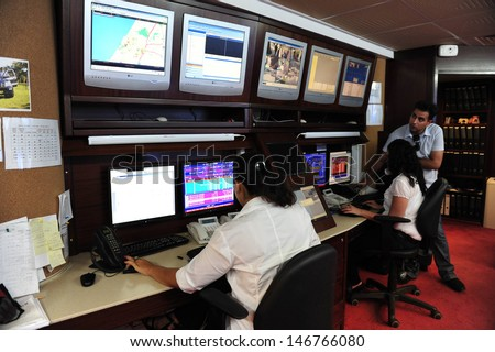 ASHKELON, ISR - JAN 18:CCTV security system operators on Jan 18 2009.According to a research, the average citizen is caught about 300 times a day on a CCTV camera. - stock photo