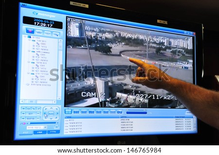 ASHKELON, ISR - JAN 18:CCTV security system with multiple camera on Jan 18 2009.According to a research, the average citizen is caught about 300 times a day on a CCTV camera. - stock photo
