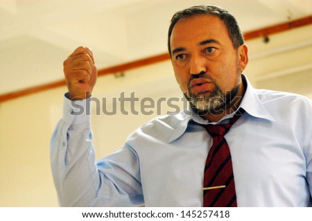 ASHKELON,ISR - NOV 01:Avigdor Lieberman on Nov 01 2007:He was Israel Minister of Foreign Affairs until 18 Dec 2012,when investigation in which he was charged with fraud and breach of trust,took effect - stock photo