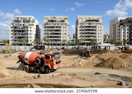 ASHKELON, ISRAEL- MARCH 02, 2015:construction activity in Ashkelon, Israel.Ashkelon is a developing city on the coast of Mediterranean sea - stock photo