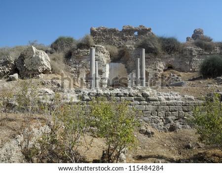 Ashkelon National Park Church of Santa Maria viridis Built in Byzantine times, in the V century BC - stock photo