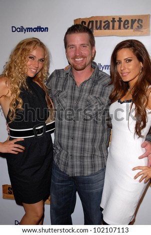 "Ashley Marriott, Frank Kramer and Kerri Kasem at the Red Carpet Launch Party for ""Squatters,"" the new web series, Capitol City, Hollywood, CA. 06-04-10"