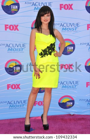 Ashley Rickards at the 2012 Teen Choice Awards at the Gibson Amphitheatre, Universal City. July 23, 2012  Los Angeles, CA Picture: Paul Smith / Featureflash