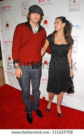 Ashton Kutcher and Demi Moore at a party celebrating the books written by Laura Day. One Sunset, West Hollywood, CA. 06-19-07 - stock photo