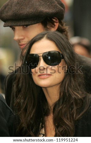 Ashton Kutcher and Demi Moore at the Ceremony honoring Bruce Willis with the 2,321st star on the Hollywood Walk of Fame. Hollywood Boulevard, Hollywood, CA. 10-16-06 - stock photo