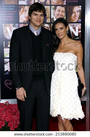 """Ashton Kutcher and Demi Moore at the Los Angeles Premiere of """"Valentine's Day"""" held at the Grauman's Chinese Theate in Hollywood, California, United States on February 8, 2010. - stock photo"""