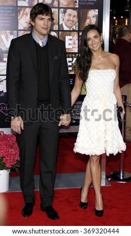 """Ashton Kutcher and Demi Moore at the Los Angeles Premiere of """"Valentine's Day"""" held at the Grauman's Chinese Theate in Hollywood, USA on February 8, 2010.  - stock photo"""