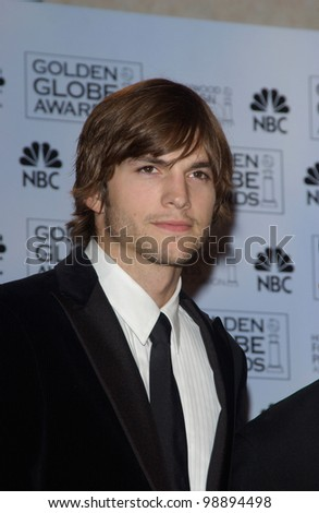 ASHTON KUTCHER at the 61st Annual Golden Globe Awards at the Beverly Hilton Hotel, Beverly Hills, CA. January 25, 2004 - stock photo