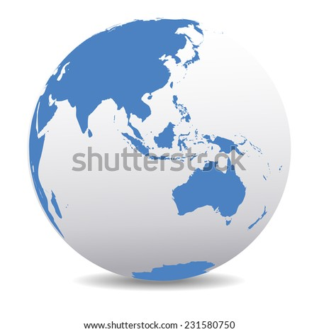 Asia and Australia, Global World - stock photo