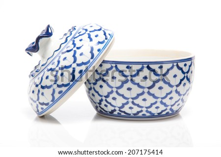 asia antique pattern style painting handmade on the blow ceramic (Porcelain), blue blow isolate on white background. - stock photo