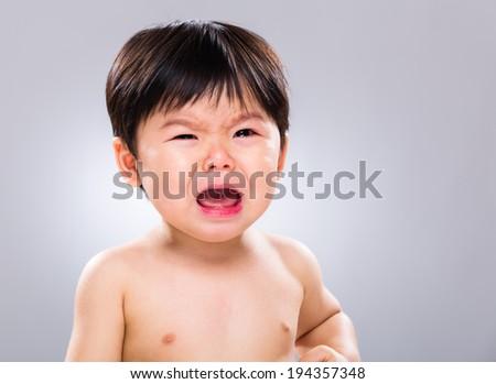 Asia baby boy cry - stock photo