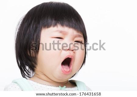 Asia baby girl cough - stock photo
