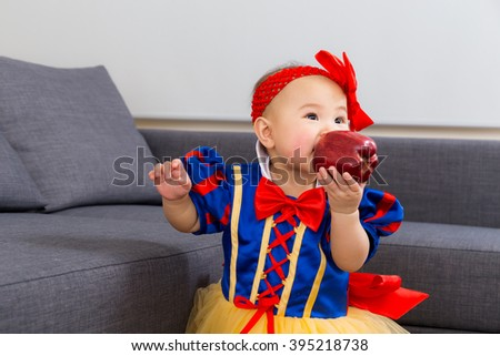 Asia baby girl with halloween party dressing - stock photo