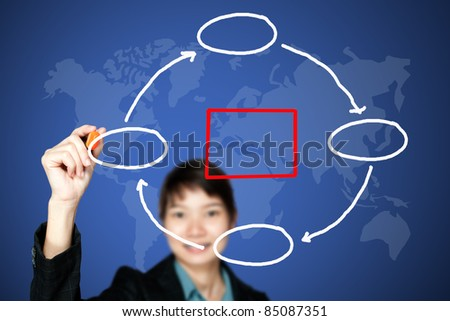asia business women drawing a graph - stock photo