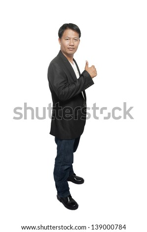 asia businessman standing over white - stock photo