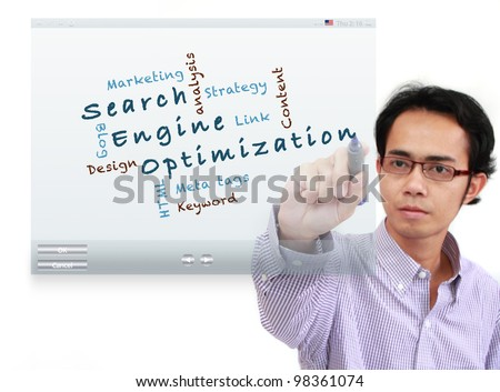 asia businessman writing Search engine optimization ( SEO) and other related words, on touch screen interface isolated on white background - stock photo