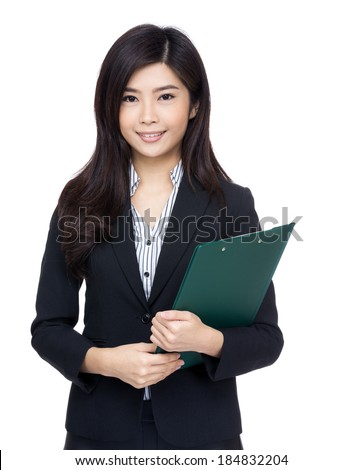 Asia businesswoman with clipboard - stock photo