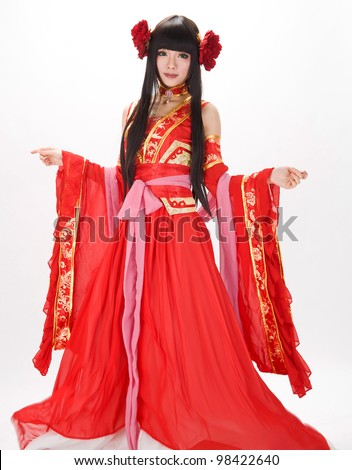 Asia / Chinese girl in red  traditional peony dress - stock photo