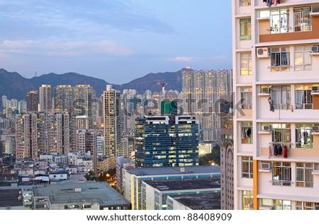 asia city downtown wide shot, hong kong - stock photo