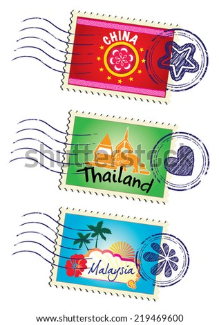 Asia country travel landmark stamp set - stock photo