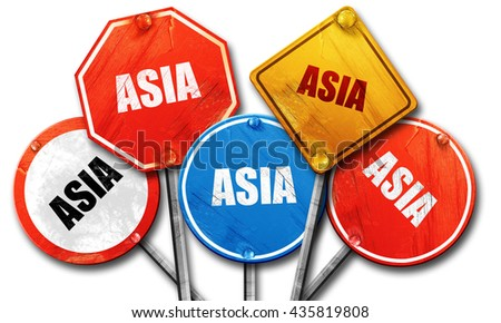 asia, 3D rendering, rough street sign collection