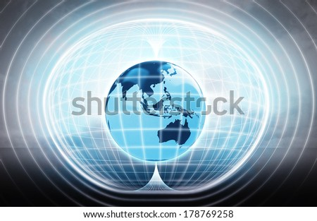 Asia earth globe stuck in energy capsule as science project illustration - stock photo