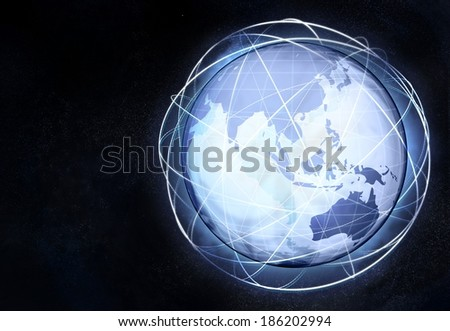 asia earth globe view with travel network illustration - stock photo