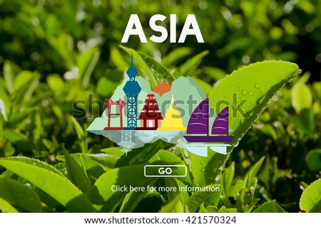 Asia East Continent Informative Culture Graphic Concept - stock photo