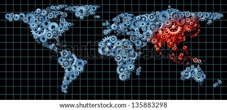 Asia economy and Asian economic activity as a business concept with a world map made of gears and cogs with China Japan Korea highlighted in red as an idea of economic growth. - stock photo